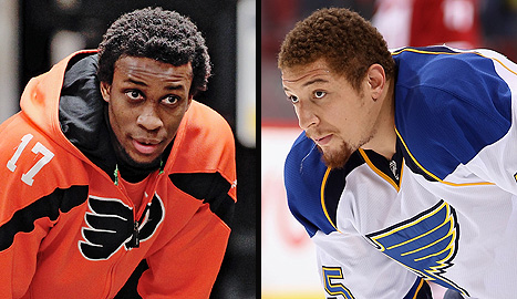 Philadelphia Flyers' Wayne Simmonds and St. Louis Blues' Chris Stewart