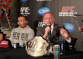 GSP looked like he'd taken plenty of punishment in the post-fight press conference. (Y! Sports)