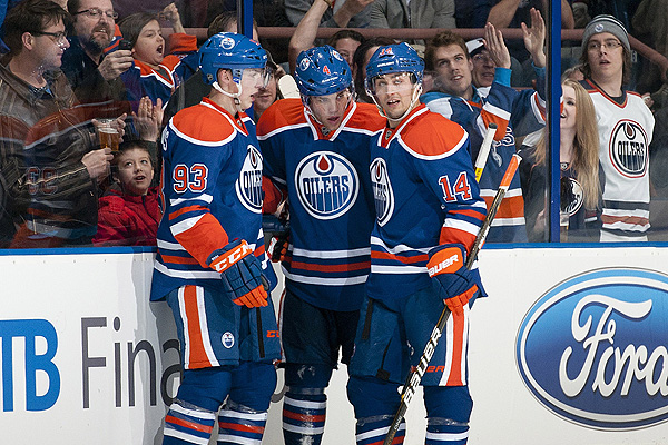 Ryan Nugent-Hopkins, Taylor Hall and Jordan Eberle of the Edmonton Oilers