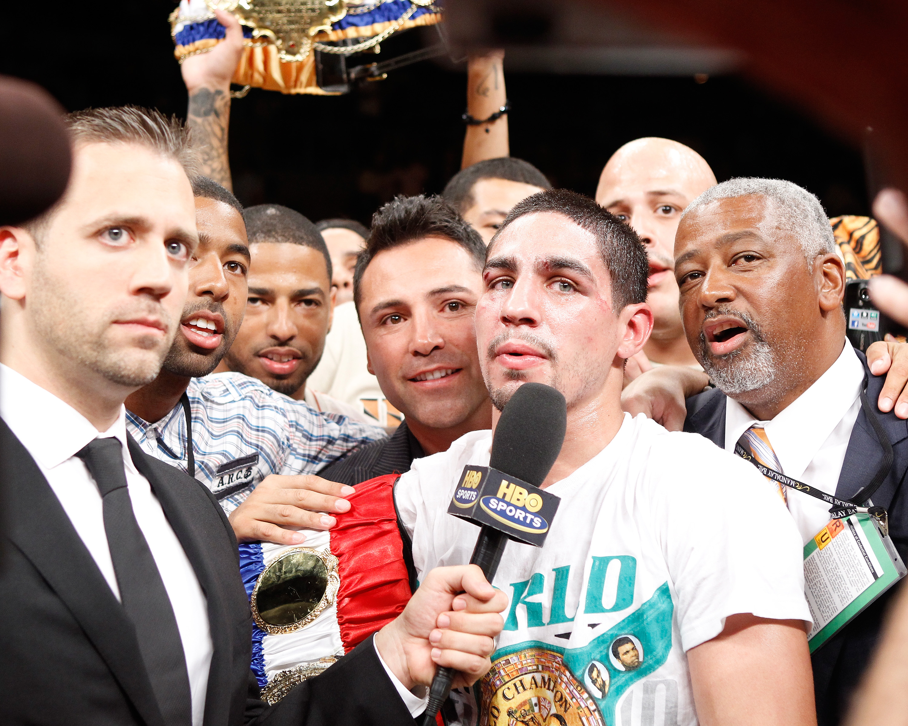 Max Kellerman interviews Danny Garcia after a win. (Photo credit: Craig Bennett/112575 Media Inc))