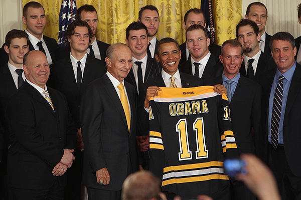 U.S. president Barack Obama welcomes the Stanley Cup-champion Boston Bruins to the White House