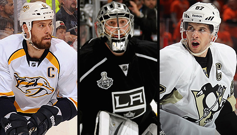 Shea Weber, Jonathan Quick and Sidney Crosby