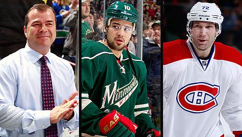 Vancouver Canucks coach Alain Vigneault, Minnesota Wild's Devin Setoguchi and Montreal Canadiens' Erik Cole