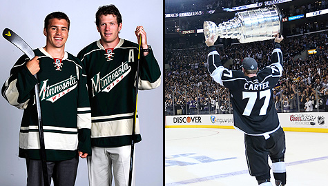 Minnesota Wild's Zach Parise and Ryan Suter, and Los Angeles Kings' Jeff Carter hoists the Stanley Cup