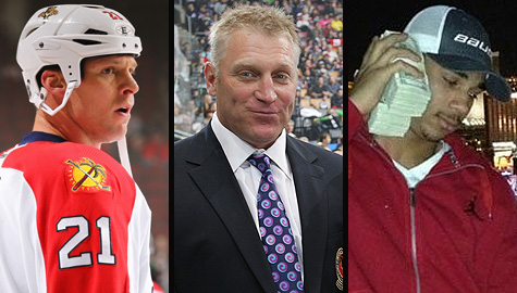 Krys Barch, Brett Hull and Evander Kane of the NHL
