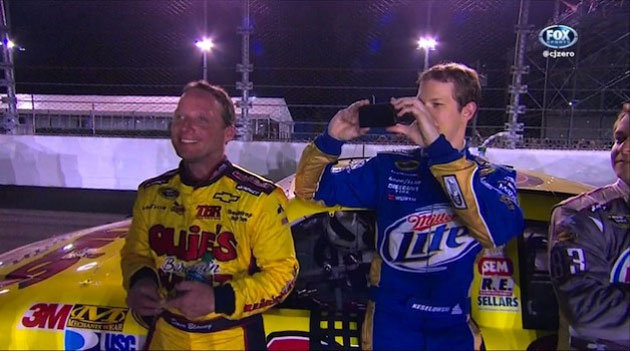Brad Keselowski took tweeting to a new level when he tweeted a photo during the Daytona 500.