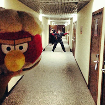 Team Canada killed time playing 'Pashenka,' a game using an 'Angry Birds' stuffed animal. (Y! Sports)