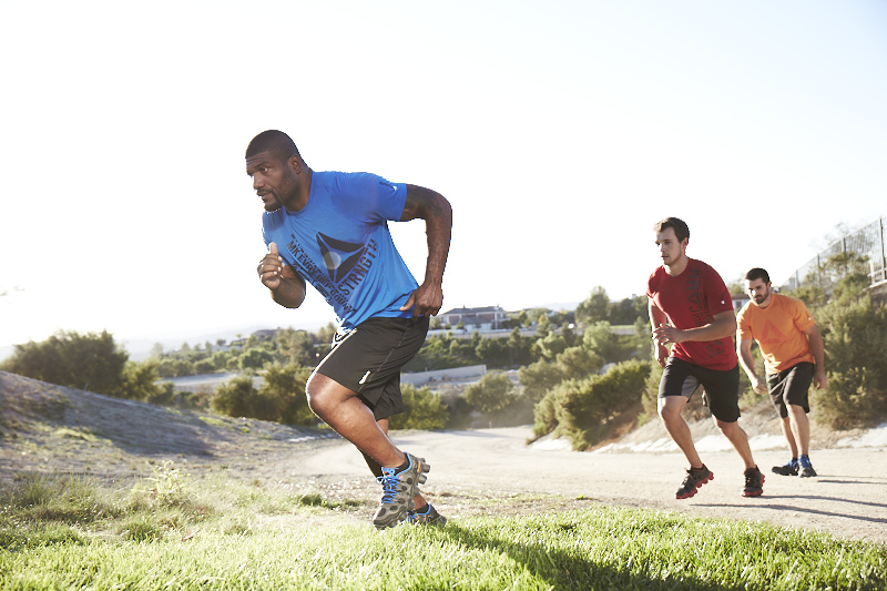 Quinton 'Rampage' Jackson is shown running up a hill. (Courtesy: Reebok)