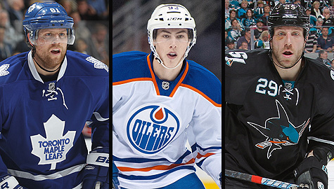 Toronto Maple Leafs' Phil Kessel, Edmonton Oilers' Ryan Nugent-Hopkins, and San Jose Sharks' Ryane Clowe