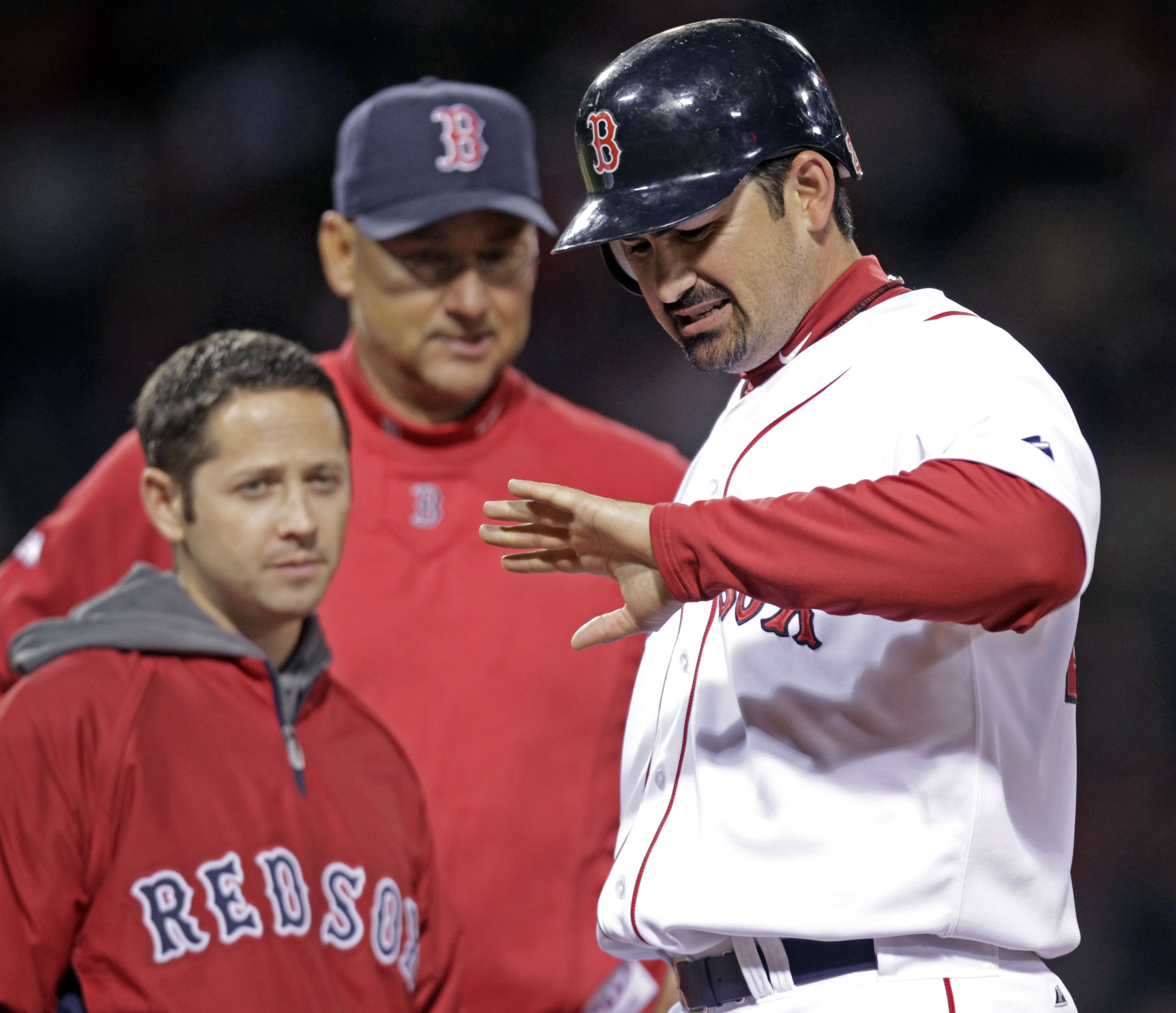 Former Red Sox trainer Mike Reinold, left, was fired by the team after last season. (Getty Images)