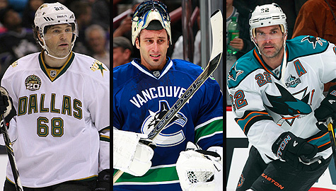 Dallas Stars' Jaromir Jagr, Vancouver Canucks' Roberto Luongo and San Jose Sharks' Dan Boyle