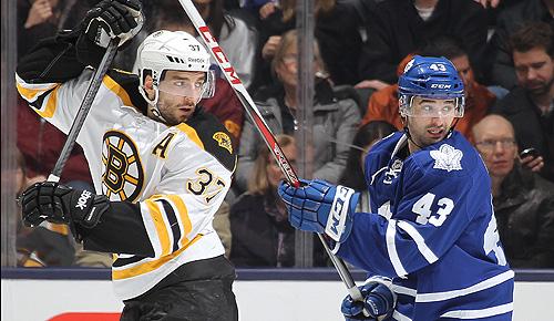 Boston Bruins vs. Toronto Maple Leafs: Patrice Bergeron and Nazem Kadri