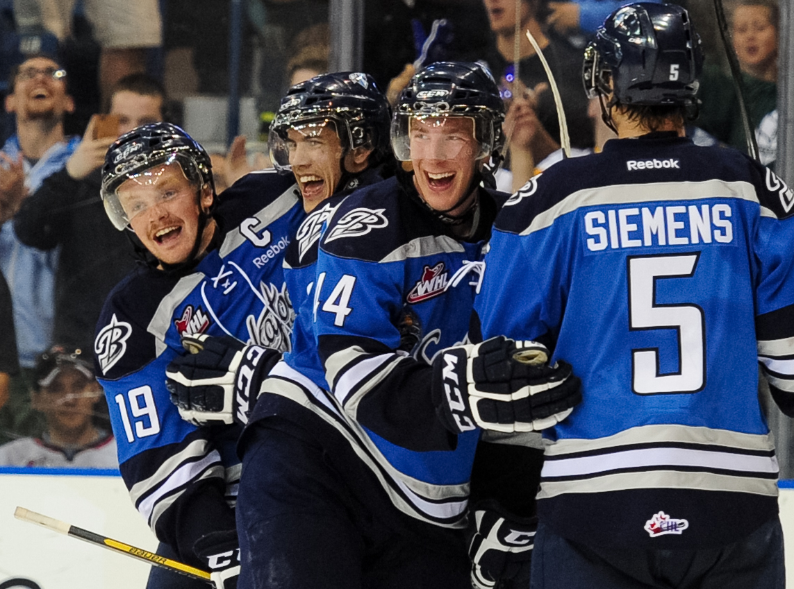 The Saskatoon Blades celebrate their victory over the Halifax Mooseheads at the Memorial Cup