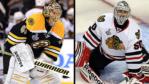 2013 Stanley Cup Final: Boston Bruins goalie Tuukka Rask and Chicago Blackhawks netminder Corey Crawford