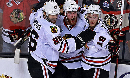 2013 Stanley Cup Final: Chicago Blackhawks celebrate Bryan Bickell's game-tying goal