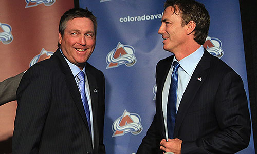 Colorado Avalanche coach Patrick Roy and vice-president Joe Sakic