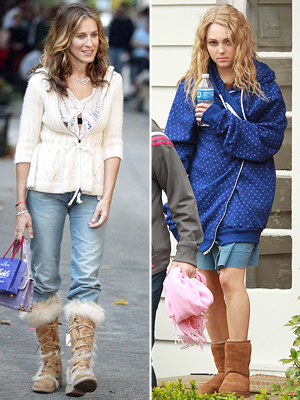 "Parker as Carrie during Season 6 of ""Sex and the City""; Robb on the set of ""The Carrie Diaries"""