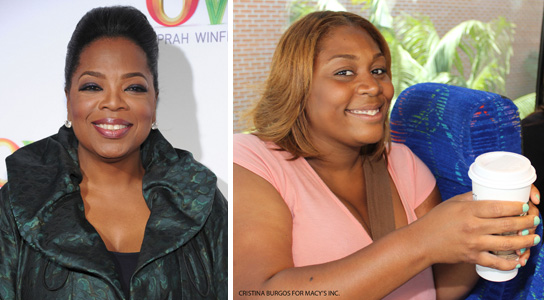 Oprah Winfrey and high school teacher Cen'Cere Cooks (Cristina Burgos for Macy's Inc.)