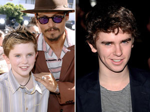 Highmore with Depp (left) and today