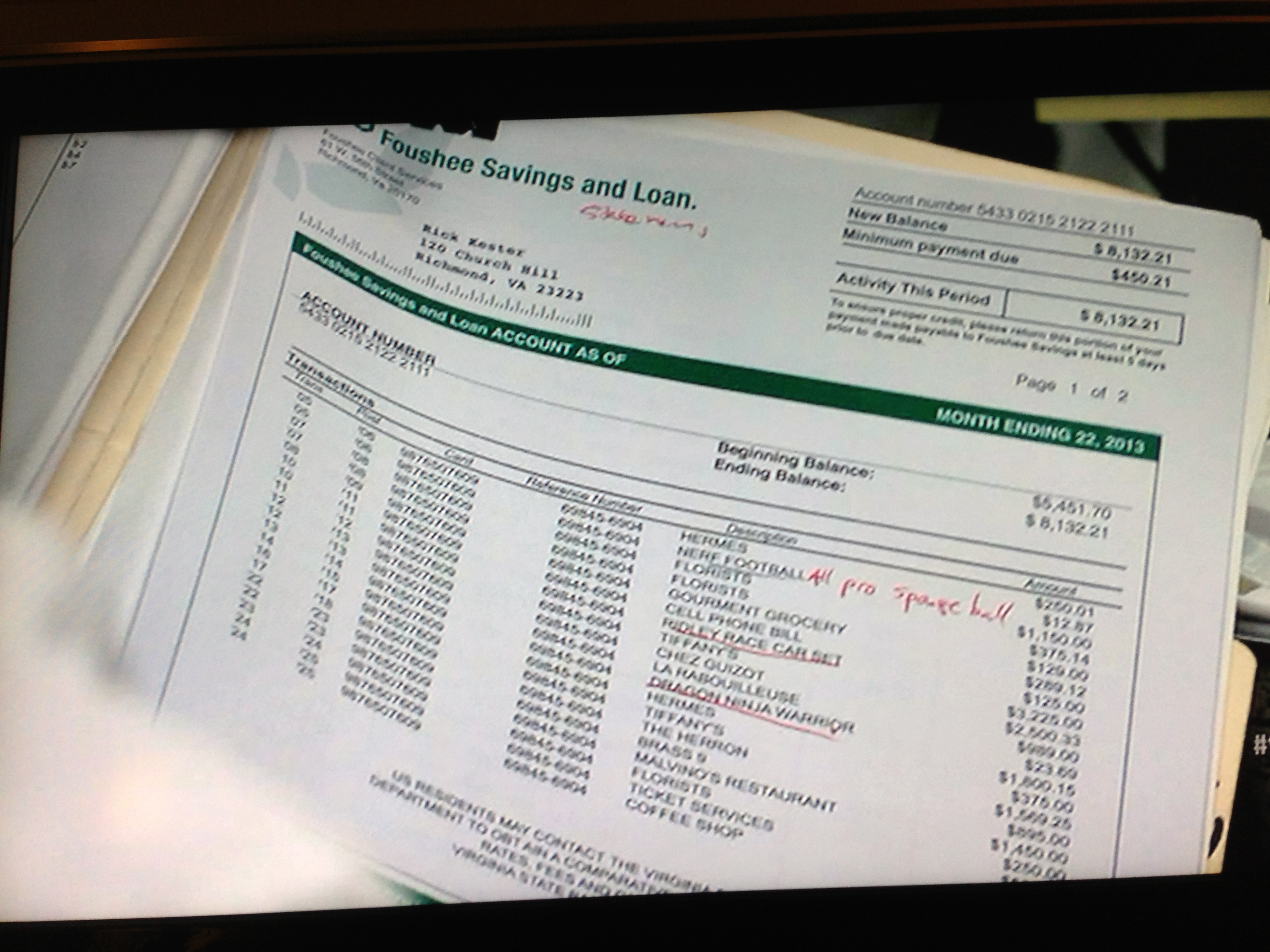 Rick Kester's bank statement (Fox)
