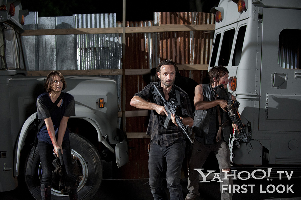 "Maggie Greene (Lauren Cohan), Rick Grimes (Andrew Lincoln), and Daryl Dixon (Norman Reedus) in ""The Walking Dead"" Season 3 episode ""The Suicide King."""