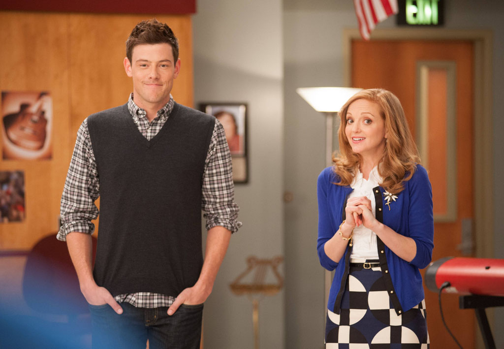 "Finn (Cory Monteith) and Emma (Jayma Mays) in the ""Diva"" episode of ""Glee."""