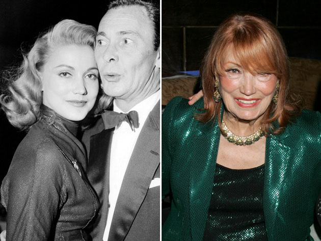 Gita Hall May and Barry Sullivan in 1958 and the former model at an event in Beverly Hills, California in 2006.