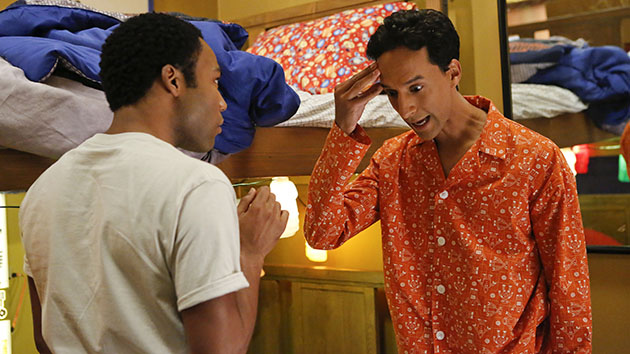"""Basic Human Anatomy"" Episode 410 -- Pictured: (l-r) Donald Glover as Troy, Danny Pudi as Abed"
