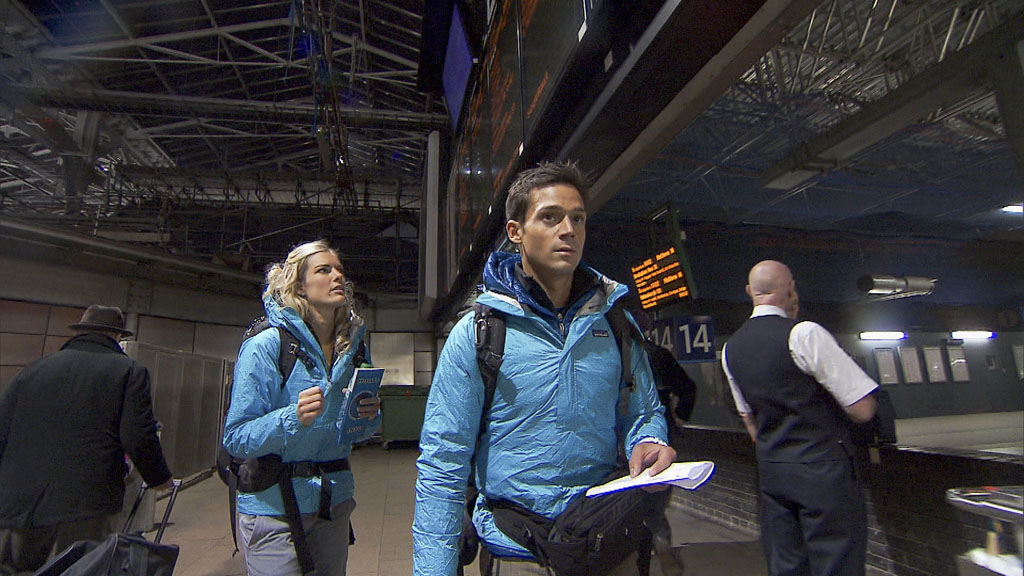 """""""Beacon of Hope"""" -- Newlyweds Katie (left) and Max (right) make their way by train to Southern Scotland where they will board a ferry and cross the Irish Sea to Belfast, Ireland on the 22nd season finale of """"The Amazing Race."""""""