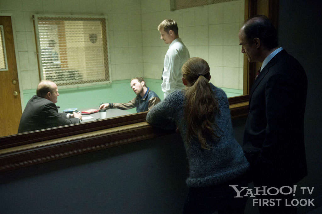 "Carl Reddick (Gregg Henry), Goldie (Brendan Fletcher), Stephen Holder (Joel Kinnaman), Sarah Linden (Mireille Enos), and Lt. Cole Skinner (Elias Koteas) in ""The Killing"" episode, ""Seventeen."""