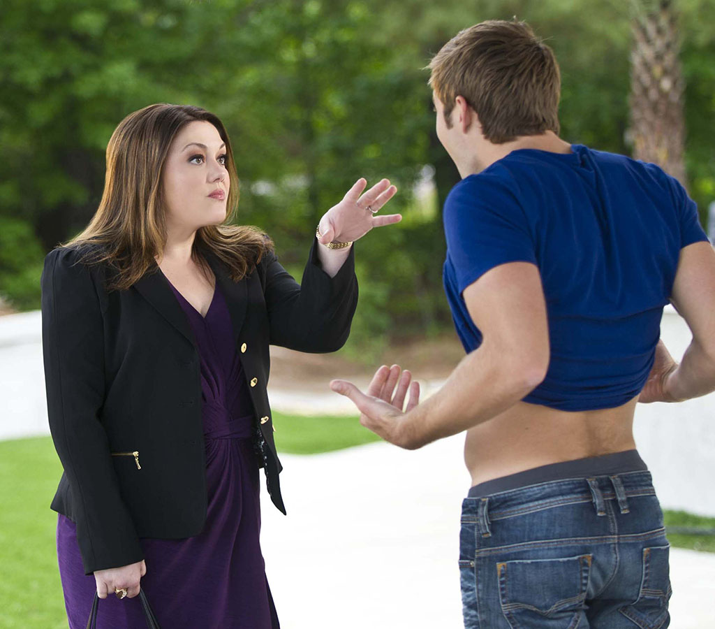 "Brooke Elliott and Justin Deeley in Season 5 of ""Drop Dead Diva"""