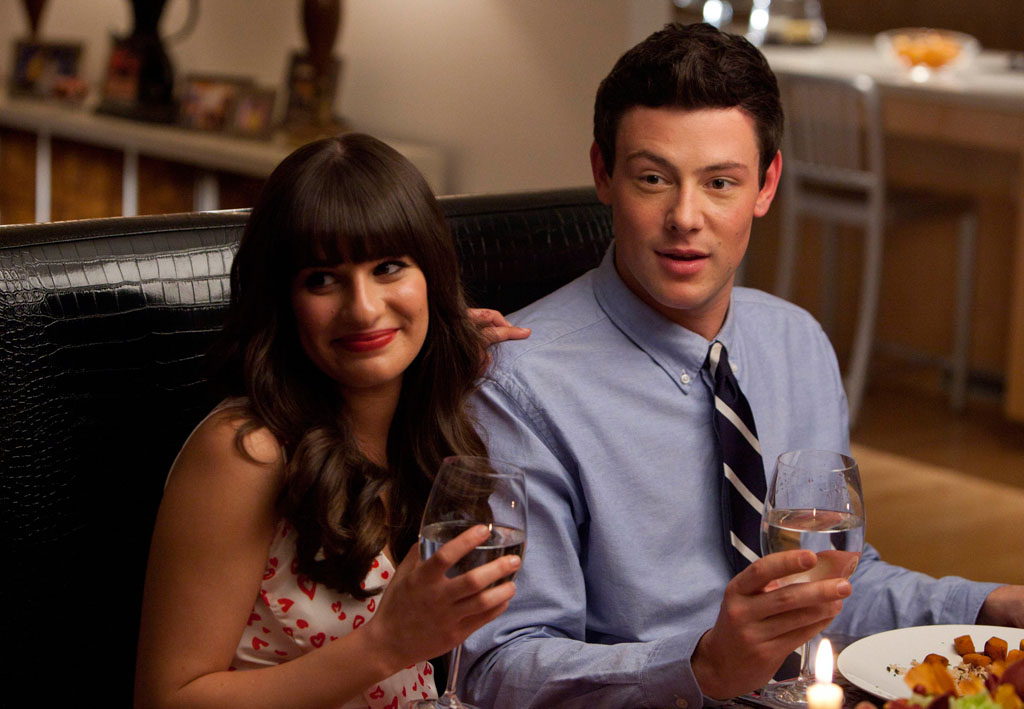 "Lea Michele as Rachel and Cory Monteith as Finn in the ""Heart"" episode of ""Glee."""