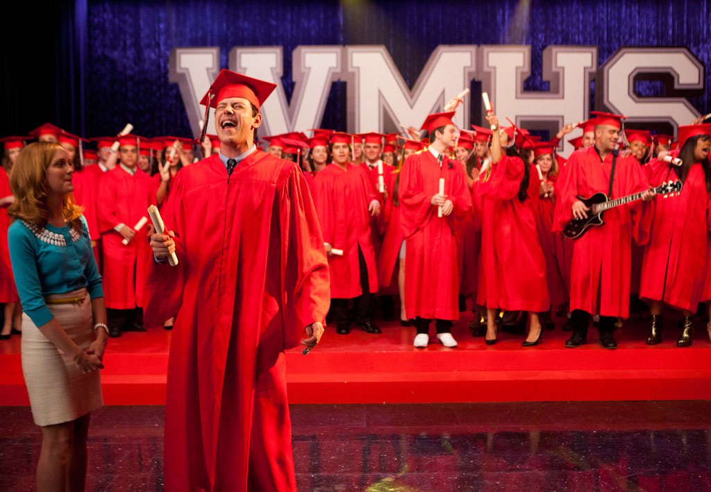 "Finn (Cory Monteith) accepts his diploma in the ""Goodbye"" season finale episode of ""Glee."""