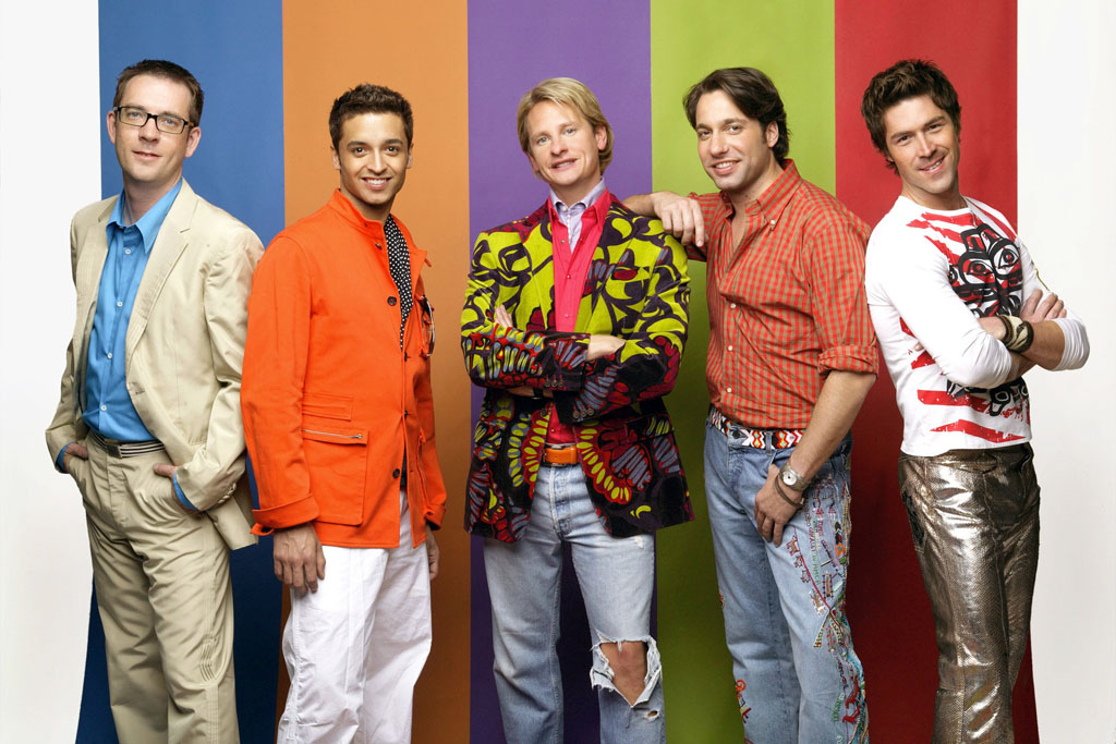 "Ted Allen, Jai Rodriguez, Carson Kressley, Thom Filicia, and Kyan Douglas in ""Queer Eye for the Straight Guy."""