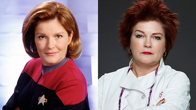 Kate Mulgrew as Captain Kathryn Janeway in 'Star Trek: Voyager' and as Galina 'Red' Reznikov in 'Orange is the New Black.' (CBS Photo Archive/Online USA, Jill Greenberg/Netflix)