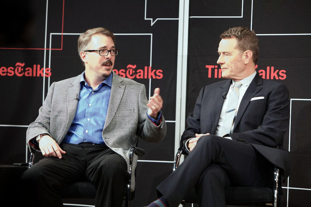 "Vince Gilligan and Bryan Cranston at TimesTalk Presents an Evening With ""Breaking Bad"" on July 30, 2013 in New York City."