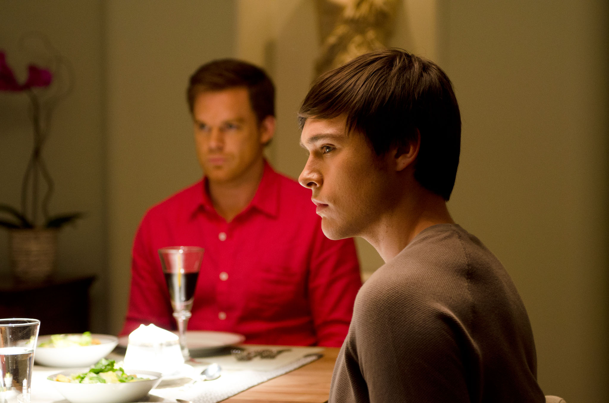 Michael C. Hall as Dexter Morgan and Sam Underwood as Zach Hamilton in the 'Dexter' Season 8 episode, 'Are We There Yet?'