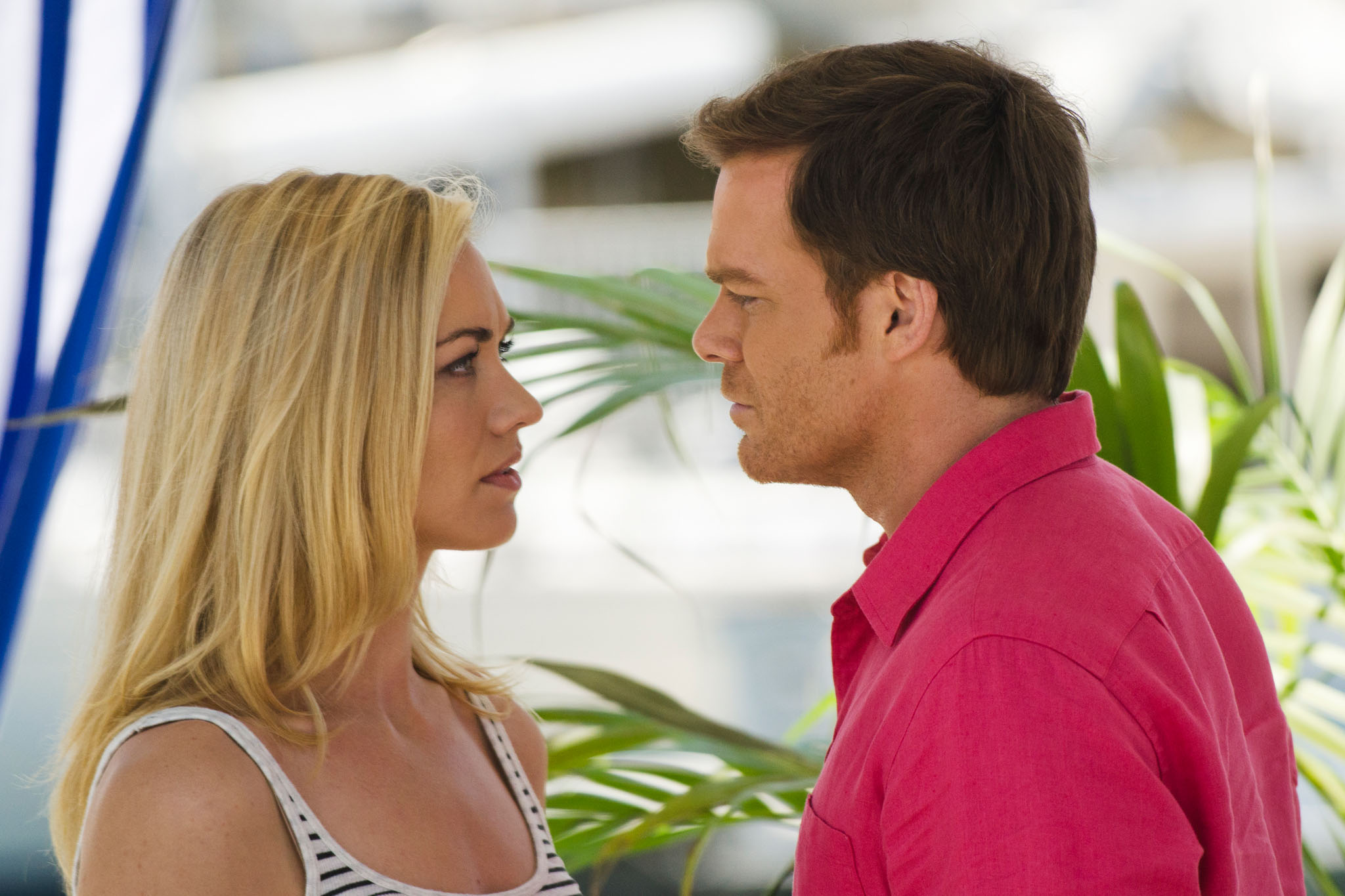 Yvonne Strahovski as Hannah McKay and Michael C. Hall as Dexter Morgan in the 'Dexter' Season 8 episode, 'Are We There Yet?'
