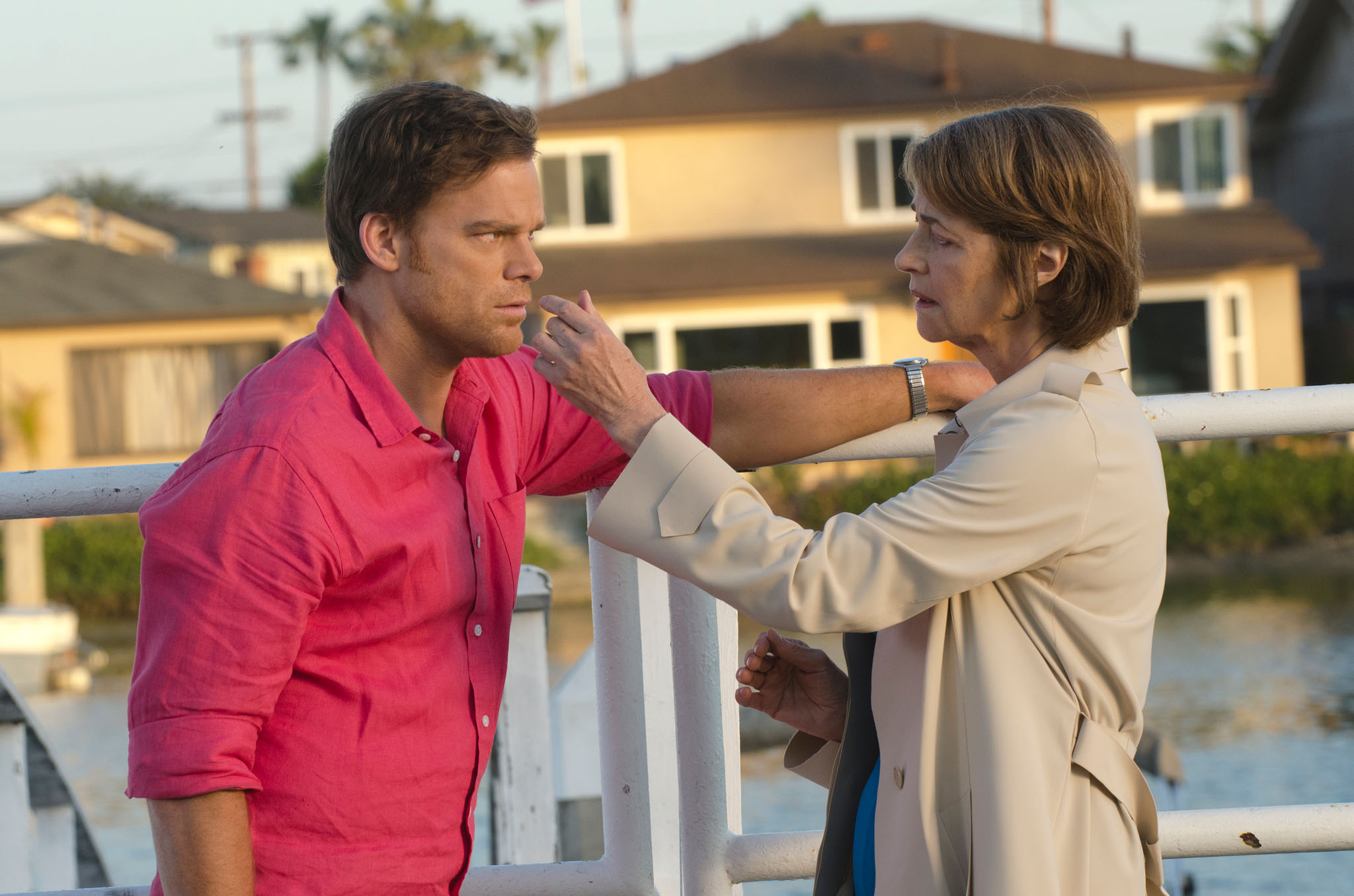 Michael C. Hall as Dexter Morgan and Charlotte Rampling as Dr. Vogel in the 'Dexter' Season 8 episode, 'Are We There Yet?'