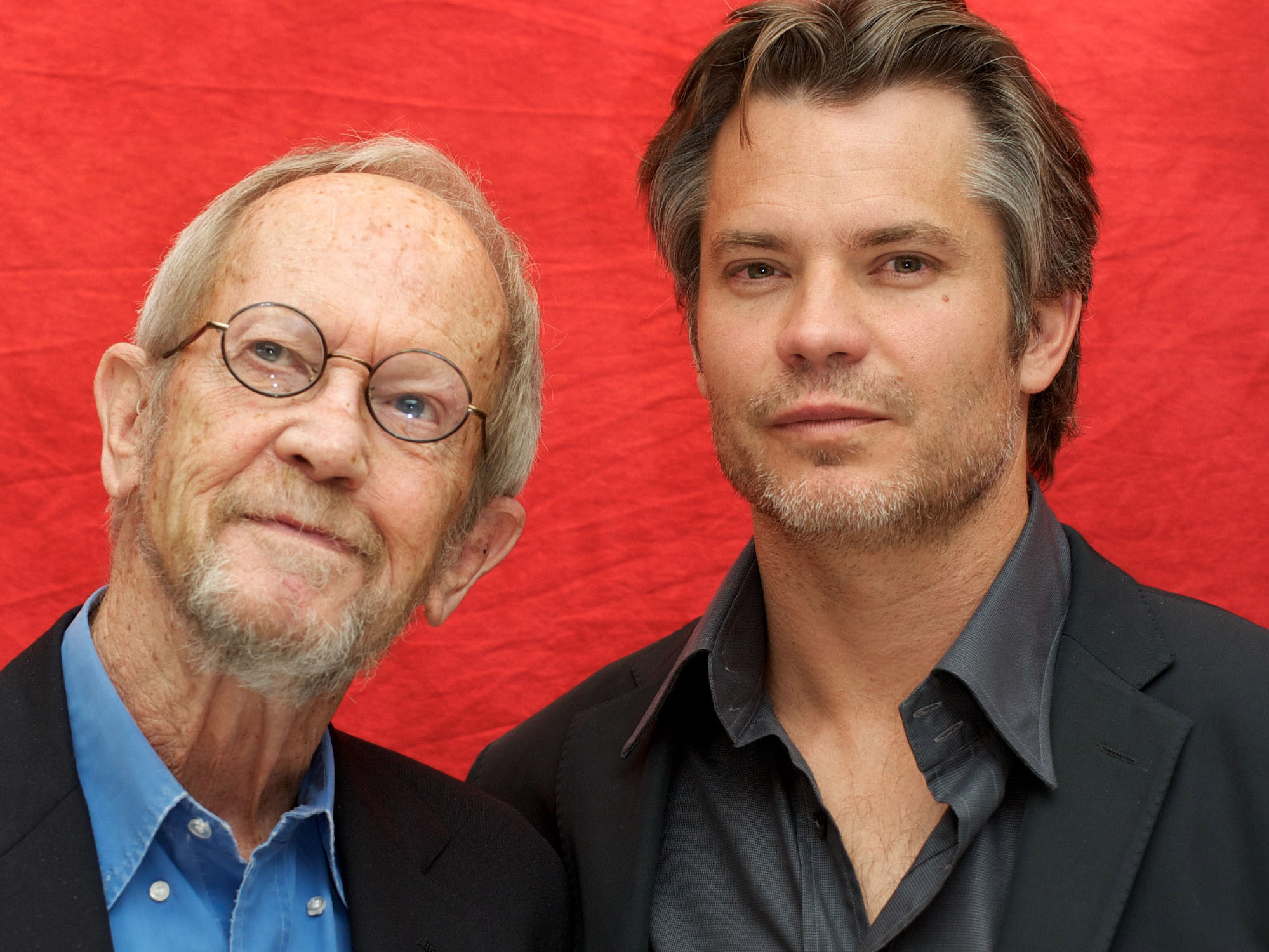 Elmore Leonard and Timothy Olyphant at the 'Justified' Press Conference at the Four Seasons Hotel on June 10, 2010 in Beverly Hills, California. (Vera Anderson/WireImage)