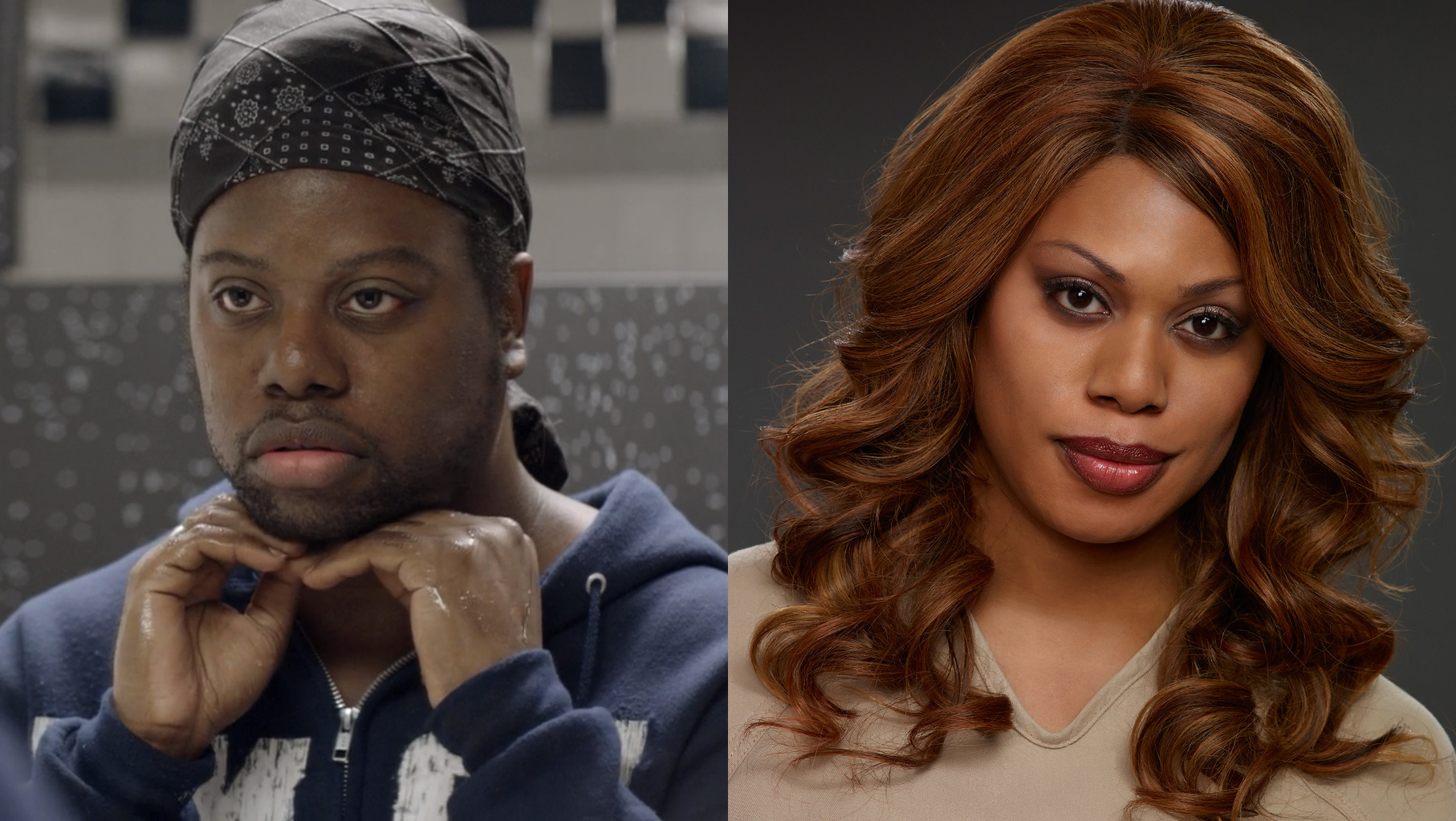 "M. Lamar as Marcus Burset and Laverne Cox as Sophia Burset in ""OITNB."""