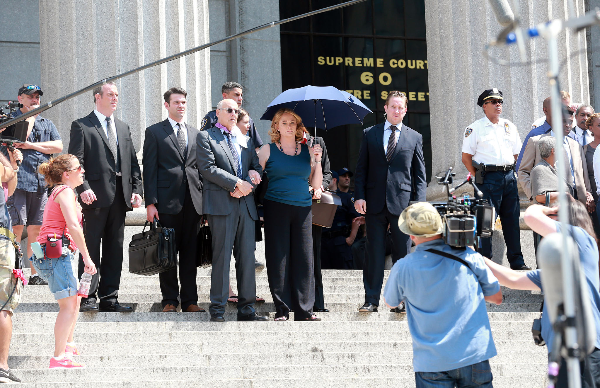 Cybill Shepard (center) filming a scene for 'Law & Order: Special Victims Unit' (Lawrence Schwartzwald/Splash News)