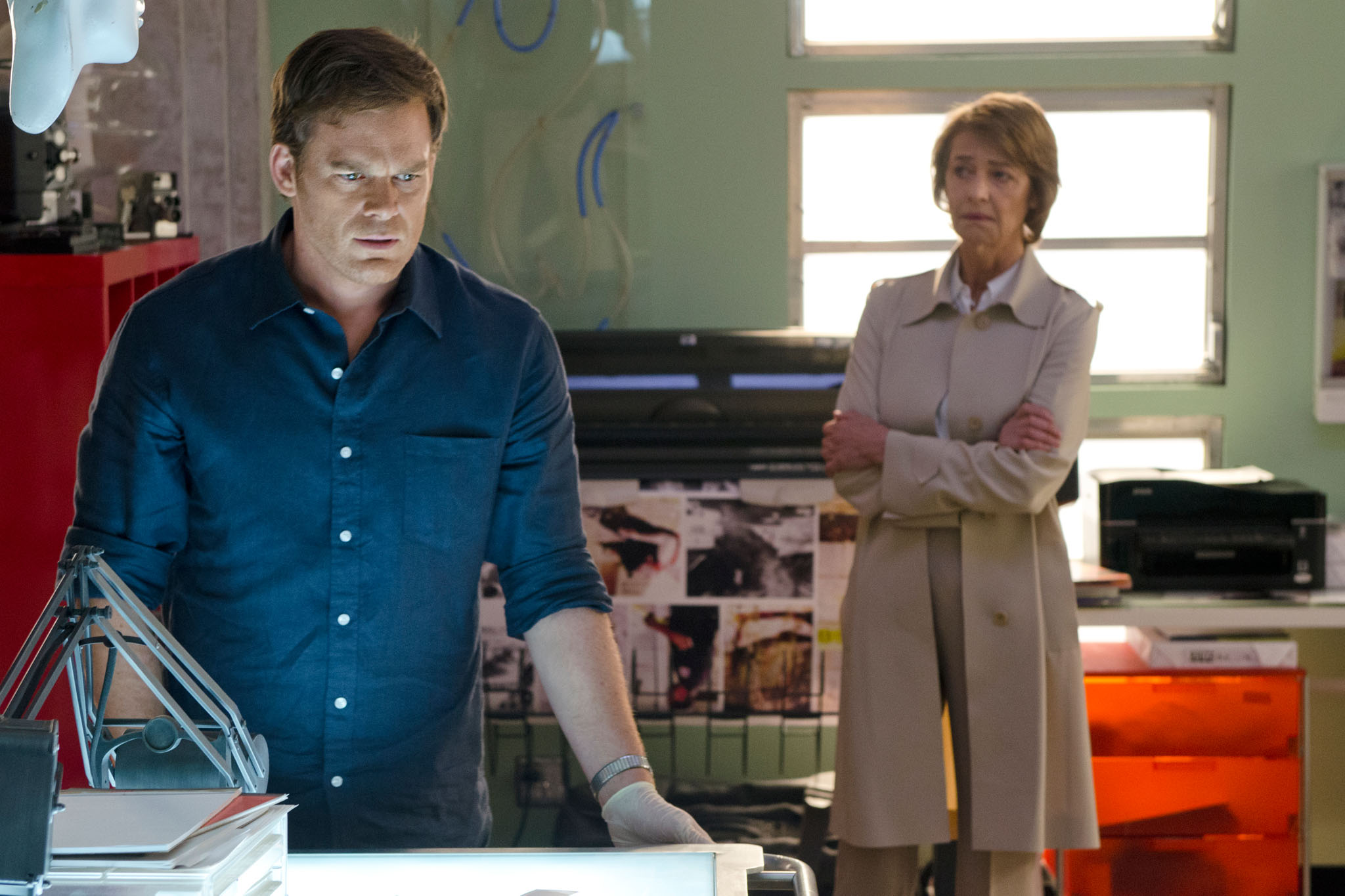 Michael C. Hall as Dexter Morgan and Charlotte Rampling as Dr. Vogel in the 'Dexter' Season 8 episode, 'Make Your Own Kind of Music.'