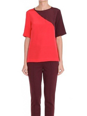 Tibi Colorblock Silk Shirt