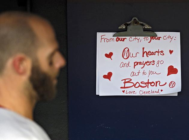 Young Indians fan presented Dustin Pedroia with supportive sign…