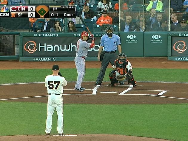 AT&T Park's batter's box was drawn noticeably crooked on We…