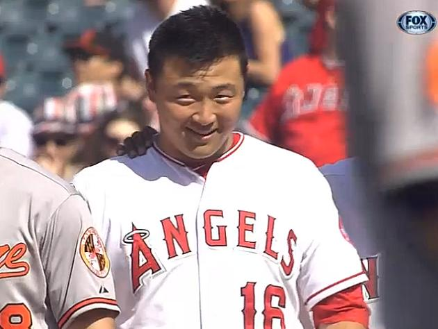 Hank Conger stumbles his way into unintentionally hilarious bun…