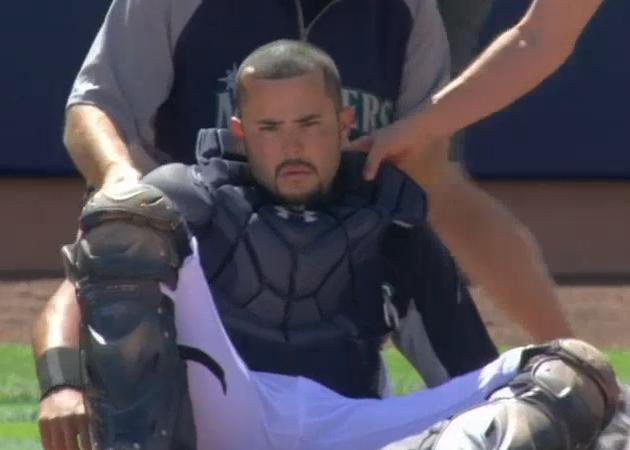 Jesus Montero avoids concussion after being struck in head by v…