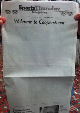 New York Times sports page goes blank to reflect lack of Hall o…