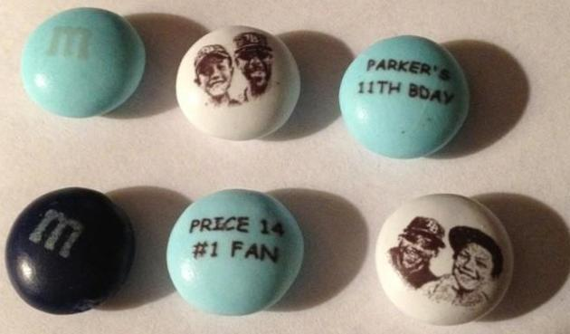Photo: David Price gets his face on M&M's